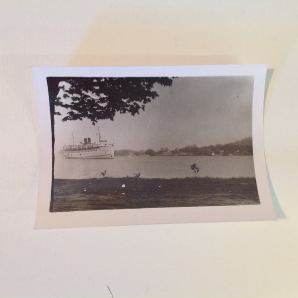 Vintage Mid Century B&W Photo SS South American Cruise Exterior Shot Ship Sailing Seen from Shore
