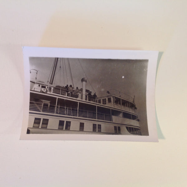 Vintage Mid Century B&W Photo SS South American Cruise Exterior Shot Passengers on the Upper Deck with Captain and Mate