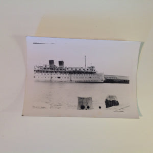 Vintage Mid Century B&W Photo SS South American Cruise Exterior Shot Ship Sails Along Dockside