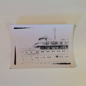 Vintage Mid Century B&W Photo SS South American Cruise Exterior Shot Ship Passenger Crowd on Upper Decks at Departure