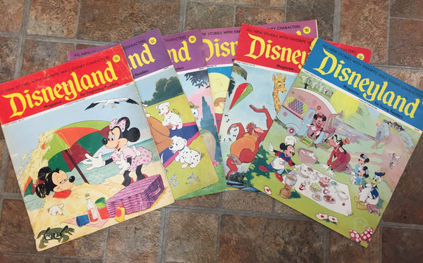 Vintage 1972 Disneyland Magazines LOT 6  Mowgli Mickey Mouse Characters