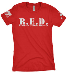 Women's R.E.D. Remember Everyone Deployed Red and White Target Logo Tee