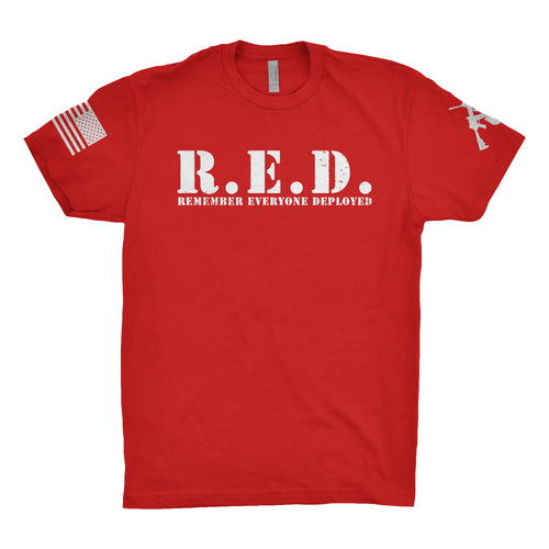 R.E.D Remember Everyone Deployed Red and White Target Logo Tee
