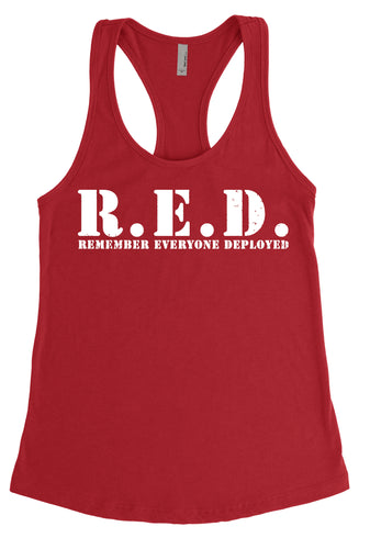 Women's R.E.D. Red and White Loose Fit Racerback Tank