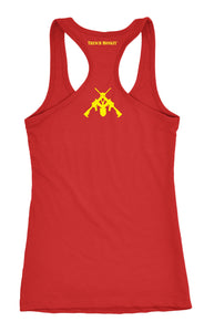 R.E.D. Remember Everyone Deployed Red and Yellow Loose Fit Racerback Tank