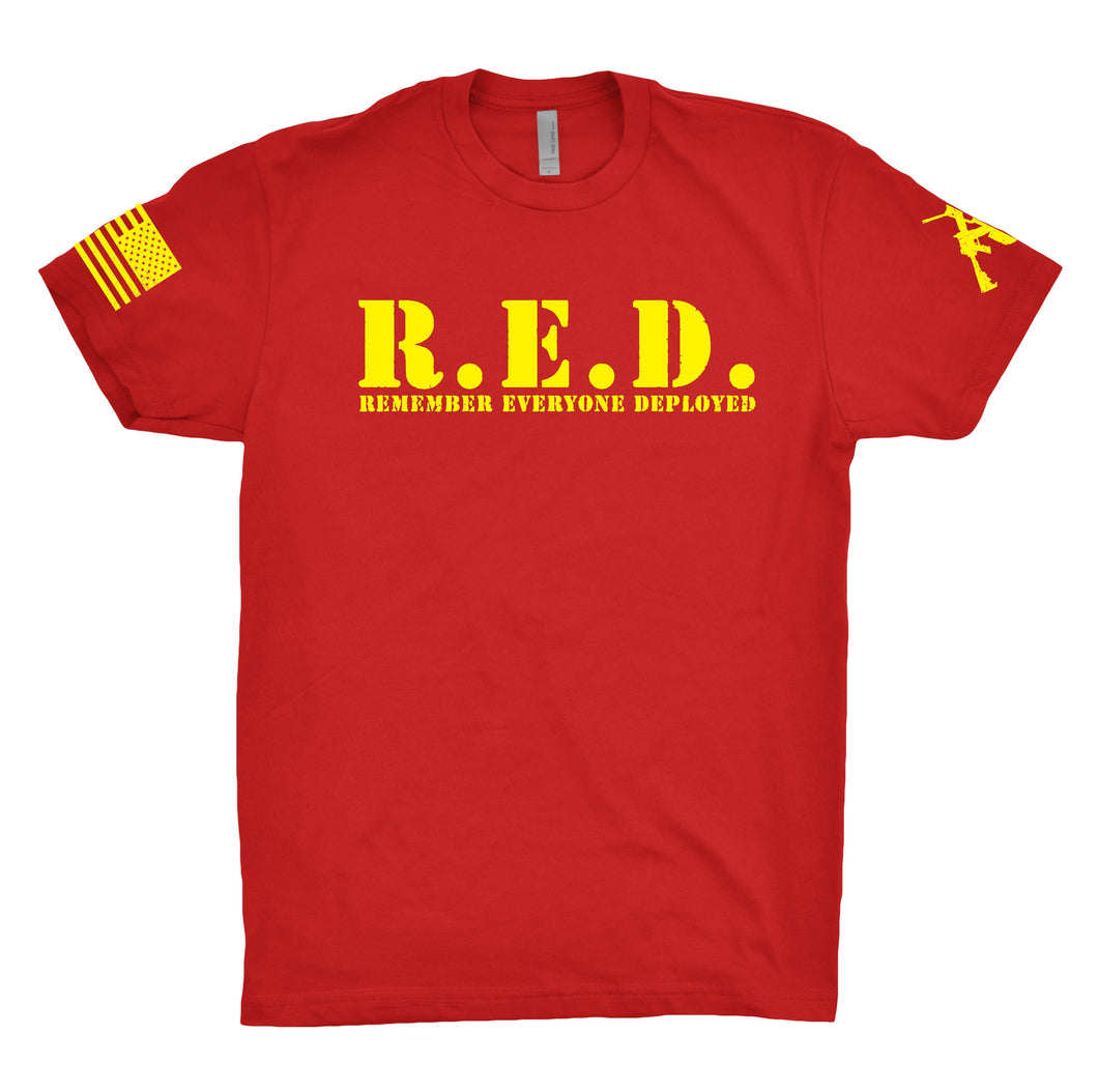 R.E.D. Remember Everyone Deployed Red and Yellow Tee