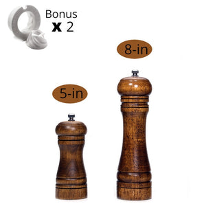 Salt and Pepper Mills, Solid Wood With Adjustable Ceramic Grinder