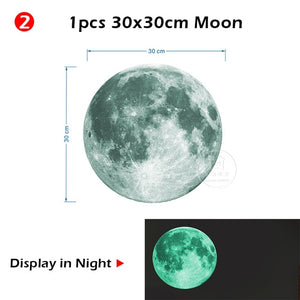 Glowing Moon and Stars Wall Stickers for Kids Room