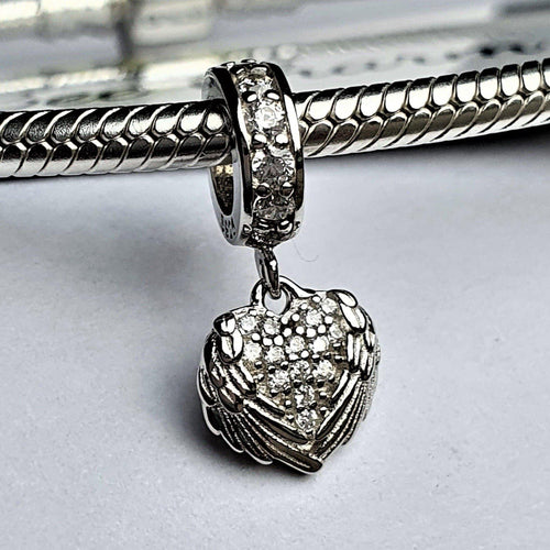 Angel Heart Charm- 925 Sterling Silver stamped with Cubic Zircons, can fit on most charm bracelets (including Pandora) or a necklace.