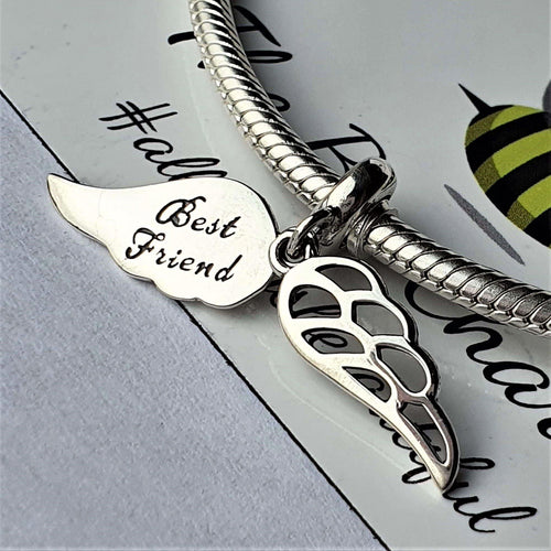 Angel Best Friend Charm - 925 Sterling Silver stamped with 'Best Friend' engraved on one side, can fit on most charm bracelets <span>(including Pandora) </span>or a necklace.