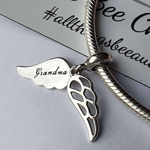 Angel Grandma Charm- 925 Sterling Silver stamped with 'Grandma' engraved on one side, can fit on most charm bracelets (including Pandora) or a necklace.