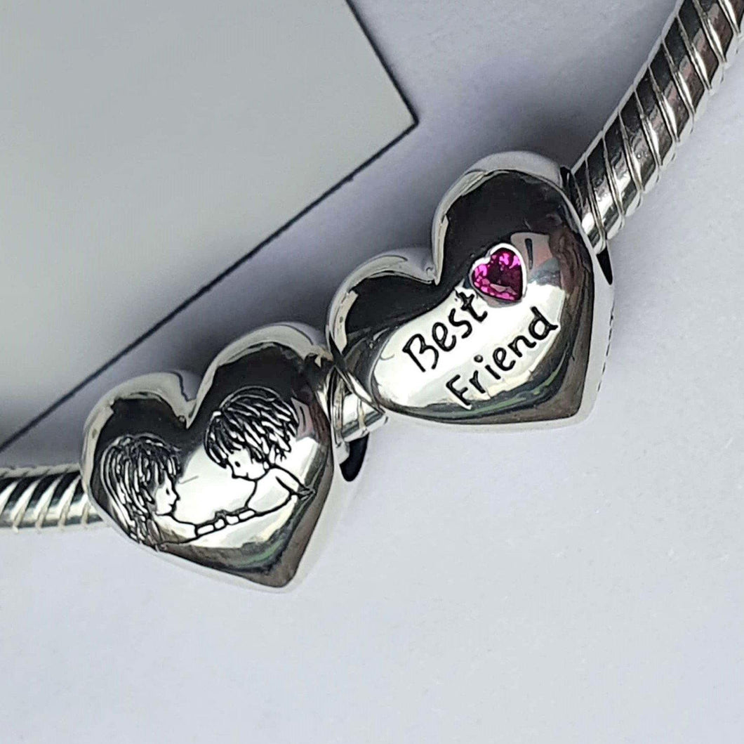 Best Friends Always Charm- 925 Sterling Silver stamped with Cubic Zircons, can fit on most charm bracelets (including Pandora) or a necklace. Has the words 'Best Friend' written on one side.