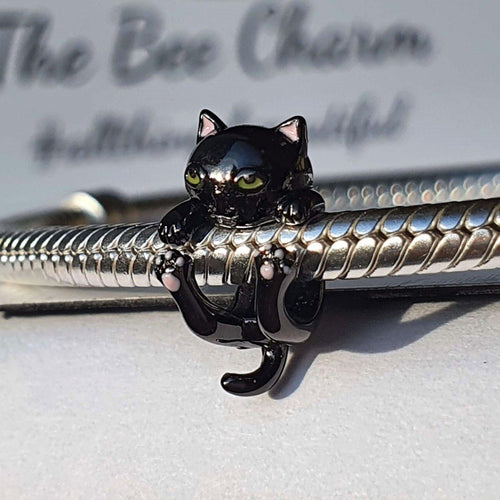 Black Cat Charm- 925 Sterling Silver stamped with gold plating & enamel finishes, can fit on most charm bracelets (including Pandora).