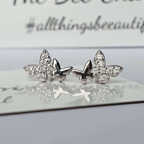 Butterfly Earrings- 925 Sterling Silver stamped & Cubic Zircons.