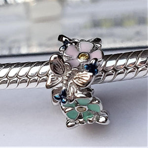 Floral Spacer - 925 Sterling Silver stamped with Cubic Zircons & Enamel finishes, can fit on most charm bracelets (including Pandora) or a necklace.
