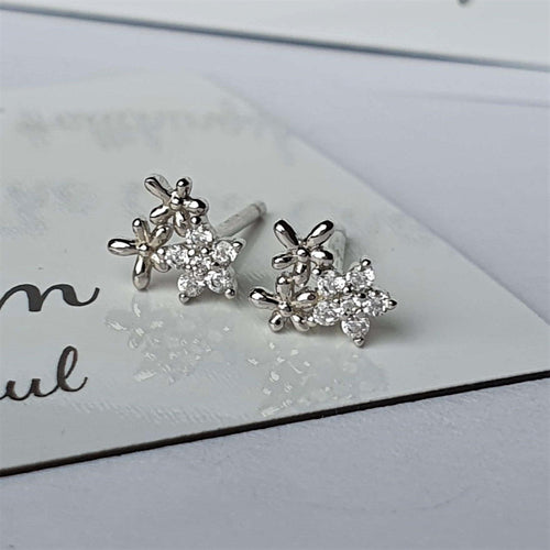 Flower Earrings- 925 Sterling Silver stamped & Cubic Zircons.