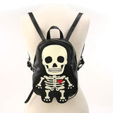 Glow In The Dark Skeleton Black Backpack Purse