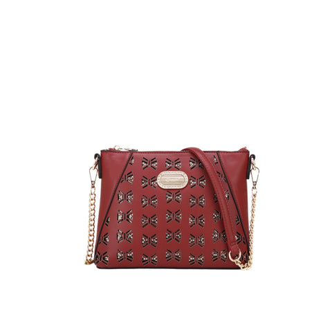 Jenna Crystal Small Cross-body Purse Red