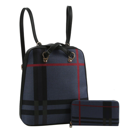 Plaid Reversible Backpack Purse Blue