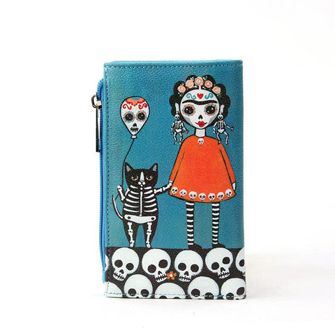 Sugar Skull Unibrow Girl With Balloon Cat Wallet