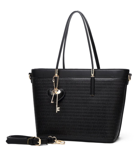Sacred Love Crystal Large Tote Handbag Black
