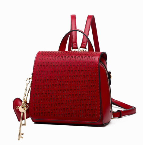 Sacred Heart Reversible Mini Backpack Purse Burgundy