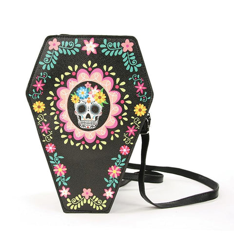 Sugar Skull Coffin Reversible Backpack Purse Black