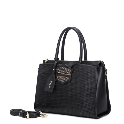 Chic Queen Medium Satchel Handbag Black