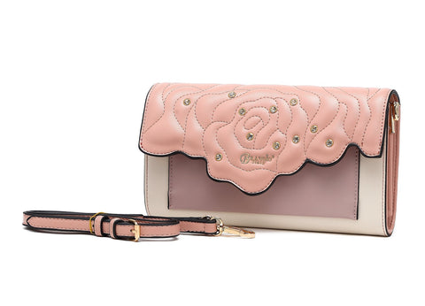 Rosette Crystal Small Evening Handbag Blush