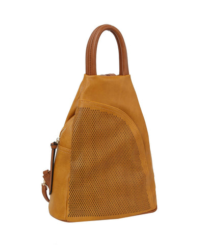 Jane Triangle Backpack Purse Mustard