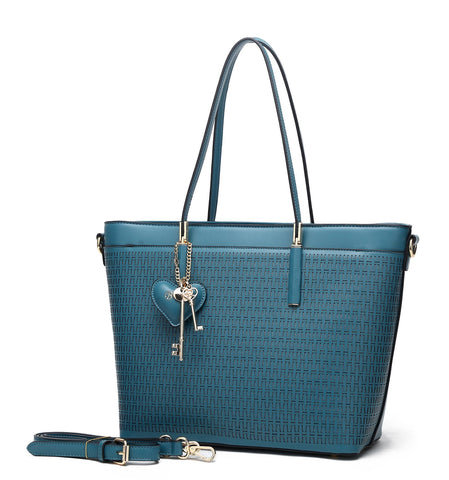 Sacred Love Crystal Large Tote Handbag Blue