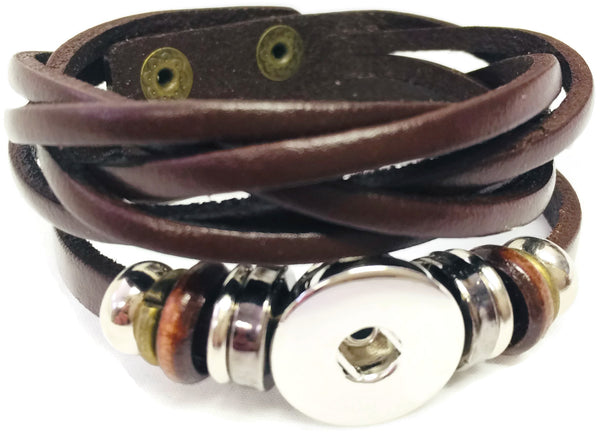 Brown Cuff Diy Leather Bracelet Multiple Colors Available For 18mm 20mm Snap Jewelry Build Your Own Unique