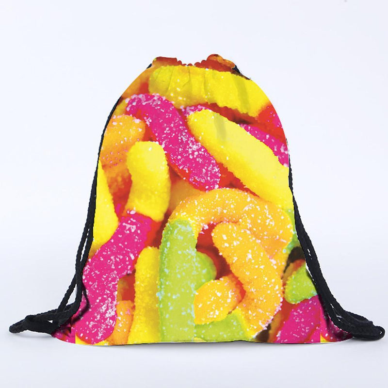 Jubilee Harvest Backpack Yummy Sweet & Sour Gummy Worm Drawstring Bag Backpack!