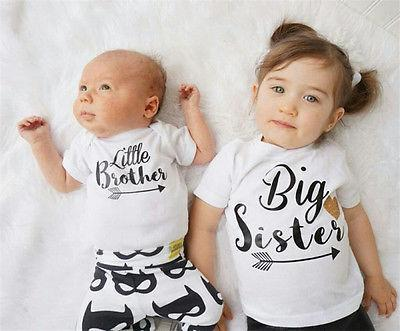 Jubilee Harvest New Brand Family Matching Outfits Baby Boys Romper Little Boy Bodysuit Big Sister T-shirt Summer Kid clothing ,white 3M-6T