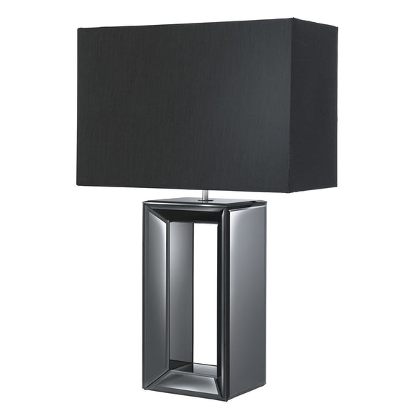 Black Mirror Reflection Table Lamp with Black Oblong Shade