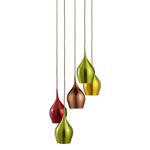 5 LIGHT MULTI-DROP PENDANT WITH MULTI-COLOURED SHADES