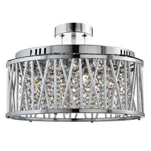 CHROME 5 LIGHT FITTING WITH CRYSTAL BUTTON DROPS