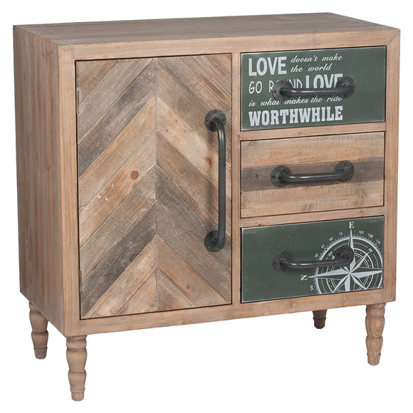 Natural Fir Wood & Iron 3 Drawer 1 Door Unit