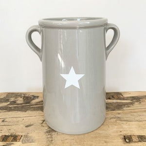 Tall Grey Ceramic Pot With White Star Detail