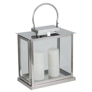 Polished Nickel And Glass Rectangular Hurricane Lantern