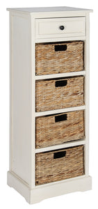 Cream Wood Draw And 4 Wicker Basket Unit