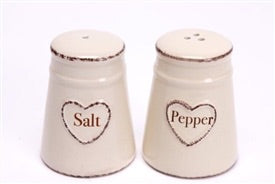Shabby Chic Cream Salt And Pepper With Heart