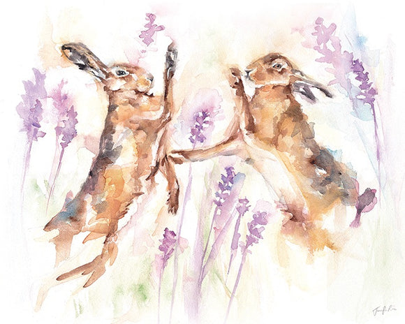 Boxing Spring Hares Canvas Picture