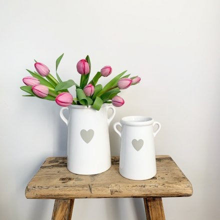 Medium White Ceramic Pot With Grey Heart