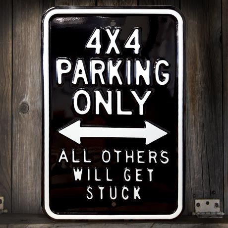 Metal Black  4 X4 Parking Sign