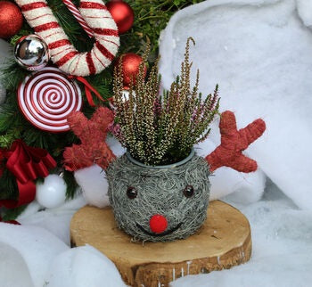 Grey Snowman Planter With Antlers