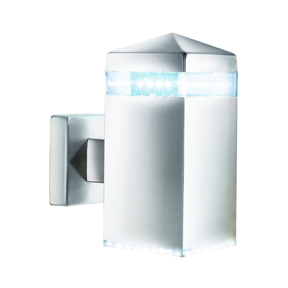 LED Outdoor Wall Light In Satin Silver Finish