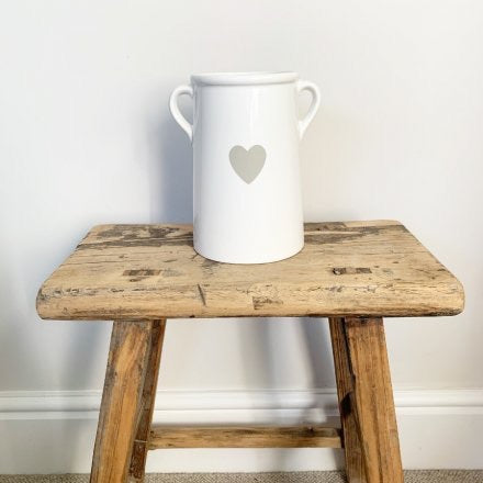 Large White Ceramic Pot With Grey Heart
