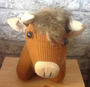 Knitted Highland Cow Doorstop