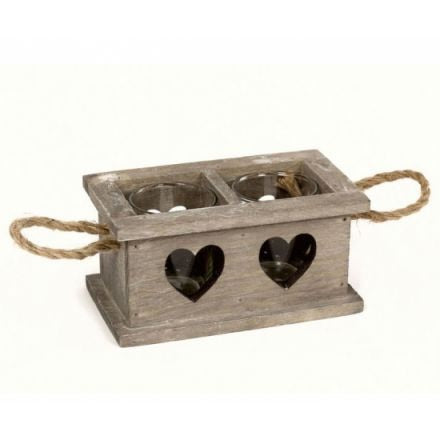 Double Wooden Tray With Cut Out Hearts